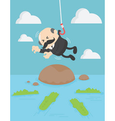 Business concept of a businessman with into water vector