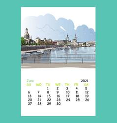 Calendar sheet june month 2021 year dresden vector
