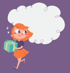 Cartoon Girl Running with Present vector