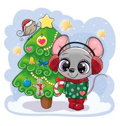 Cartoon mouse is near christmas tree vector