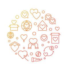 Charitable trust circular bright outline vector