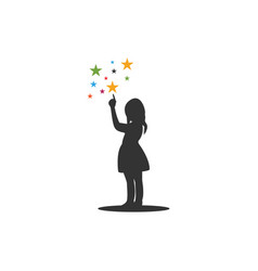 Child pointing stars icon graphic design template vector