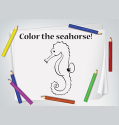 Children seahorse coloring worksheet vector