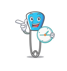 Clock safety pin character cartoon vector