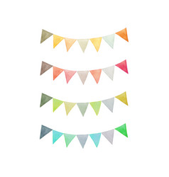 Colorful triangle carnival party flag collection vector