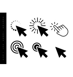 computer mouse click cursor black arrow icons set vector image