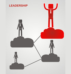concept of leadership - the leader is on a cloud vector image