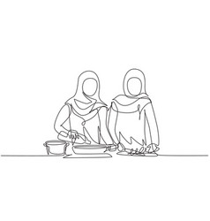 Continuous one line drawing two arabian woman vector