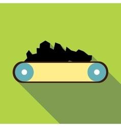 Conveyor belt carrying coal icon flat style vector image