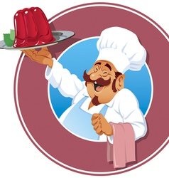 Cook with raspberry pudding vector