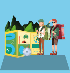 couple of tourists with landscape and icons vector image