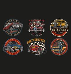 Custom cars vintage logos vector