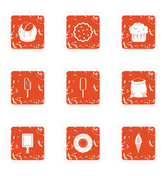 Delightful ice cream icons set grunge style vector