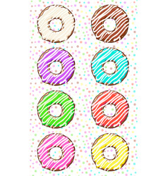 donats set donuts with colored glaze vector image