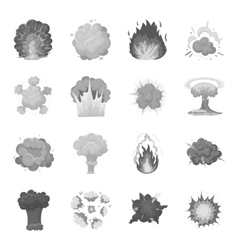 Explosions set icons in monochrome style Big vector image