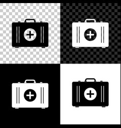 first aid kit icon isolated on black white and vector image