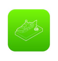 fishing boat icon green vector image