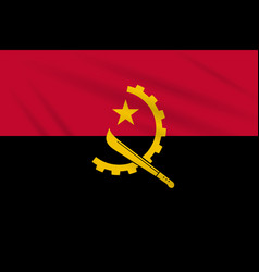 Flag angola swaying in the wind realistic vector