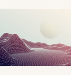 Futuristic abstract mesh mountains cyberspace vector