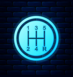Glowing neon gear shifter icon isolated on brick vector