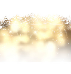 gold christmas background with snowflakes vector image