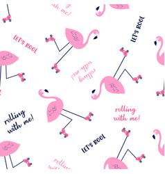 hand drawing print design skater flamingo vector image