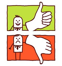 hand drawn cartoon characters - thumbs up down vector image