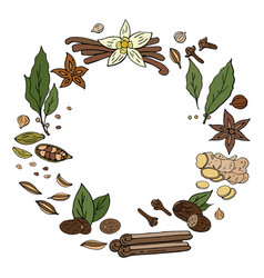 hand drwan spices wreath isolated on white vector image