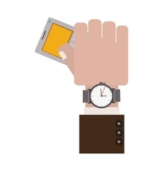 hand holding gray office calculator with Watch vector image