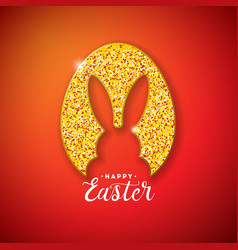 happy easter holiday design with rabbit silhouette vector image
