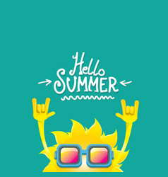 hello summer funky rock n roll label vector image