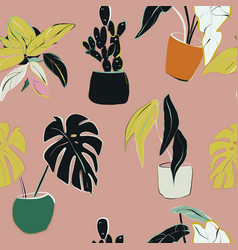 house plants decoration home floral pattern hand vector image