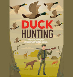 hunter hunting duck with gun or rifle and dog vector image