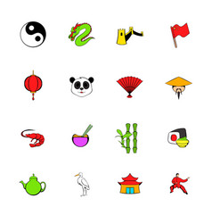 japan set icons set cartoon vector image