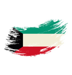 Kuwaiti flag grunge brush background vector