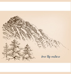 landscape sketch high cliffs mountains and pine vector image