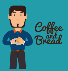 man eating bread and coffee vector image