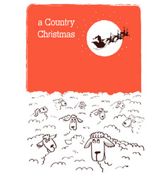 Merry country christmas card with flock sheeps vector