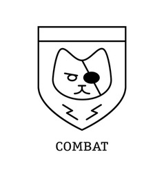 Minimal vintage labels with combat cat on vector