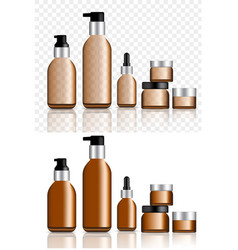 Mock up realistic amber and black cosmetic oil vector