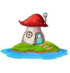 Mushroom house on island vector