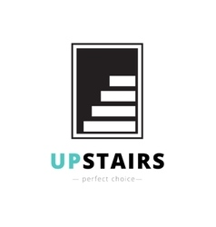 negative space stairs logo Brand sign vector image