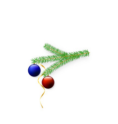new year tree branch with balls and serpentine vector image