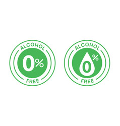 Non alcoholic round icon stamp zero alcohol sign vector