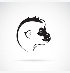 Northern white-cheeked gibbon head design on vector