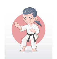 Old man karate master in fighting stance vector