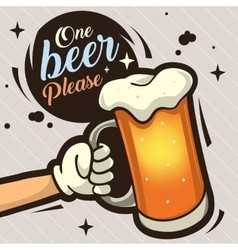 One Beer Please Hand Drawn Artistic Cartoon vector