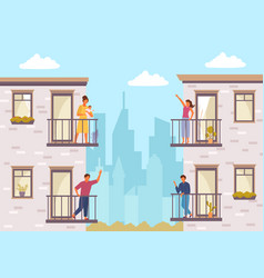 people on balcony stay home quarantined people vector image