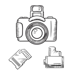 Photo camera memory card and film roll sketches vector image
