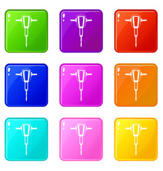 Pneumatic plugger hammer icons 9 set vector